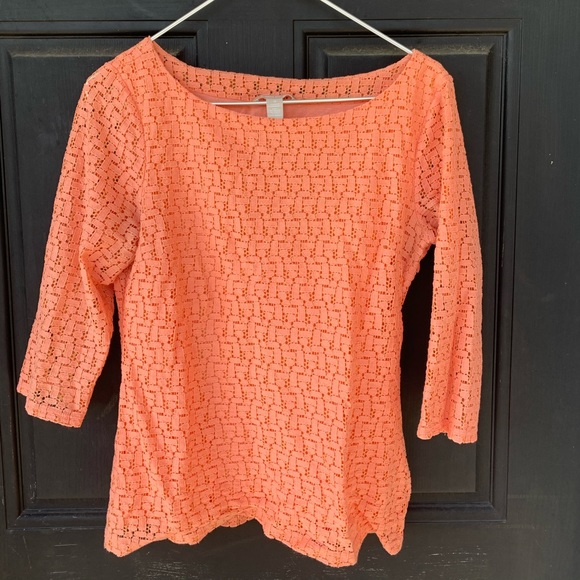 Banana Republic Peach Lace 3/4 Sleeve Shirt